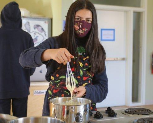 project period cooking kitchen at maharishi school