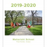 Maharishi School Fairfield Iowa yearbook, flags along sidewalk