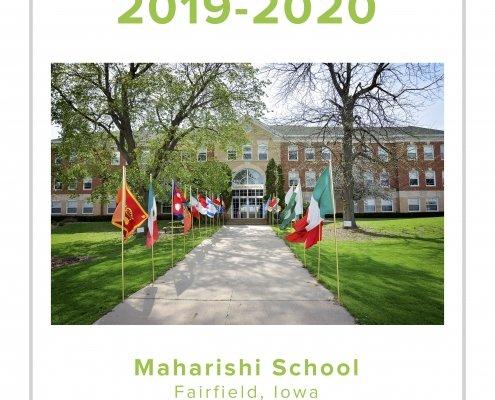Maharishi School Fairfield Iowa yearbook, flags along sidewalk