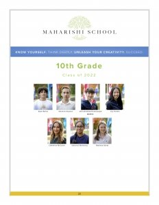 10th grade students at Maharishi School