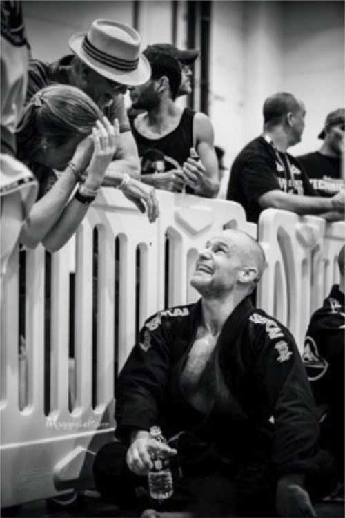 Maharishi School alumni Jason Shields takes a break during competition at the International Brazilian Ju Jitsu Federation World Federation Championships, where he won first place in the purple belt category.